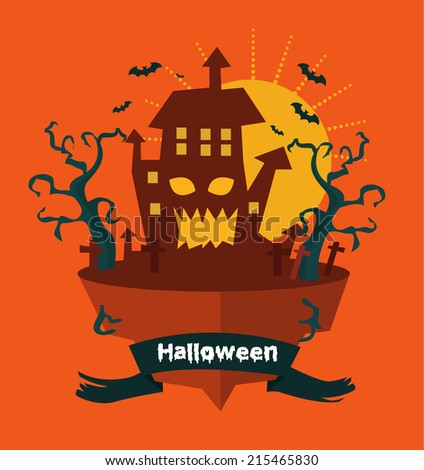 Halloween land. Night background with castle. flat design. vector illustration - stock vector