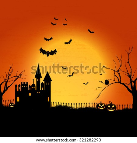 Halloween landscape with haunted house and graveyard - stock vector