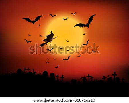 Halloween landscape with witch flying through the air - stock vector