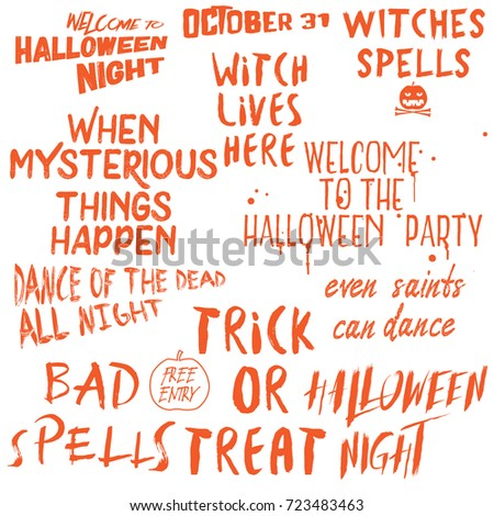Halloween Lettering Phrases Overlay Set. Scary Quotes. Spooky Holiday  Typography. Calligraphy Photo Graphic