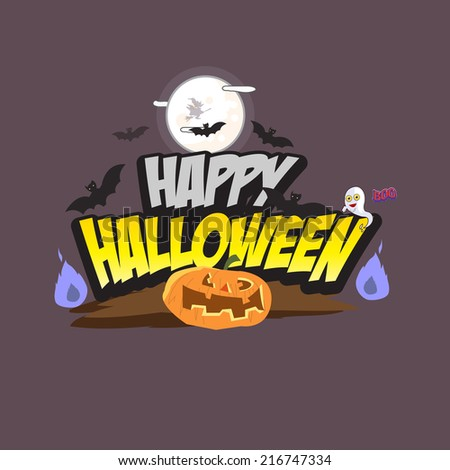 Halloween lettering with element. pumpkin. flying bat. ghost character and witch - vector illustration - stock vector