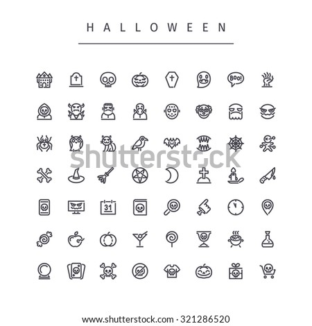 Halloween Line Icons Set. Isolated on white background. - stock vector