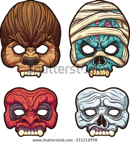 Halloween masks. Vector clip art illustration with simple gradients. Each on a separate layer. - stock vector