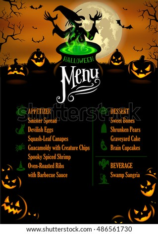Halloween Menu Template in vector format