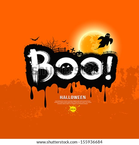 Halloween Message Boo!. design background, vector illustration - stock vector