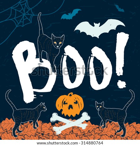 "Halloween Message ""Boo!"" - poster / card / invitation. Vector Illustration"
