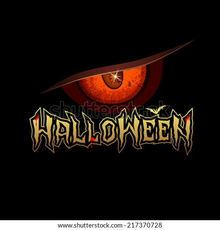 Halloween message red eyes with bat and blood red design background, vector illustration - stock vector