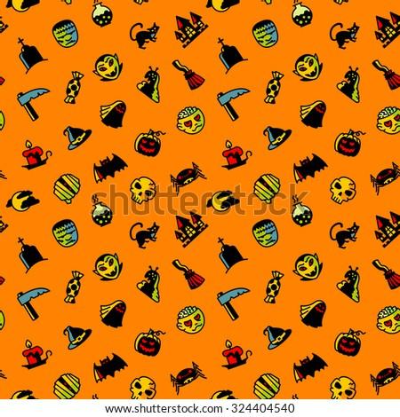 Halloween minimalistic seamless pattern - stock vector