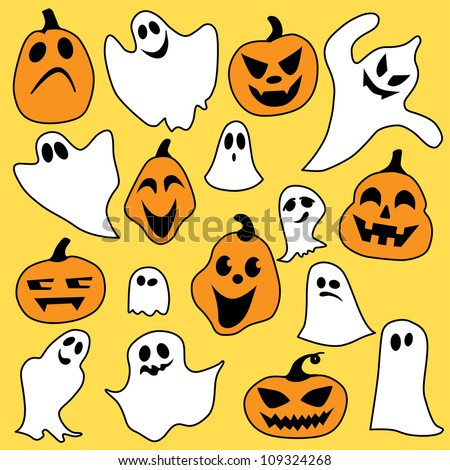 Halloween mix of ghost and pumpkin on yellow background