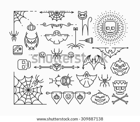 Halloween mono line icons. Horror theme corners, dividers and design elements set. Outline isolated empty objects.  - stock vector