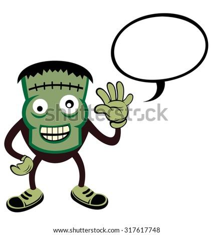 Halloween monster costume. frankenstein with talk bubble - stock vector