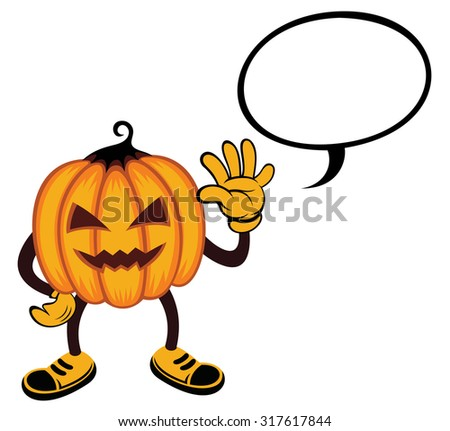 Halloween monster costume. pumpkin with talk bubble - stock vector