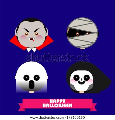 Halloween monster faces - stock vector