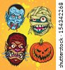 Halloween Monster Head Vector Set - stock vector