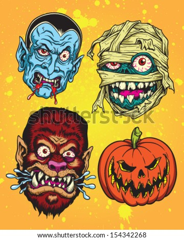 Halloween Monster Head Vector Set - stock vector