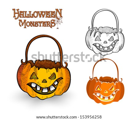 Halloween monster pumpkin lanterns set illustration. EPS10 Vector file organized in layers for easy editing. - stock vector