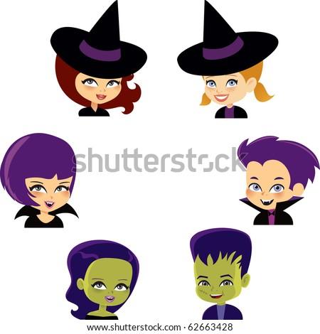Halloween Monster Set with six portrait of cartoon kids wearing costumes, witch, vampire and Frankenstein - stock vector