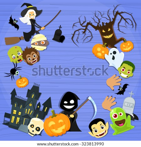 Halloween Monsters Collection Set Zombie Vampire Ghost Death Grim Reaper Werewolf Copy Space Flat Vector Illustration