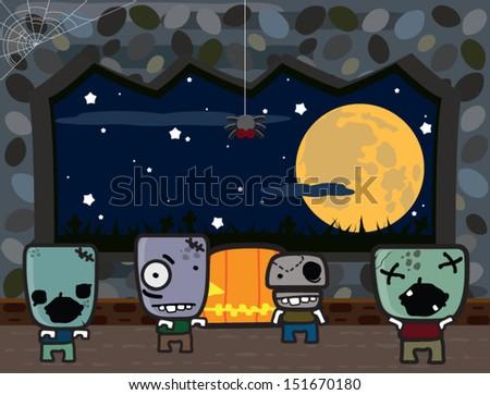Halloween monsters. Full moon. - stock vector