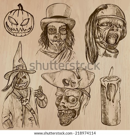 Halloween (Monsters, Magic and Fairy Tales) - Collection (no.16) of an hand drawn illustrations. Description: Each drawing comprise of three layer of outlines, the colored background is isolated. - stock vector