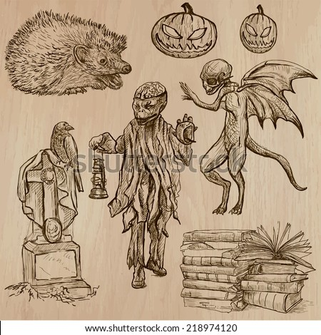 Halloween (Monsters, Magic and Fairy Tales) - Collection (no.14) of an hand drawn illustrations. Description: Each drawing comprise of three layer of outlines, the colored background is isolated. - stock vector