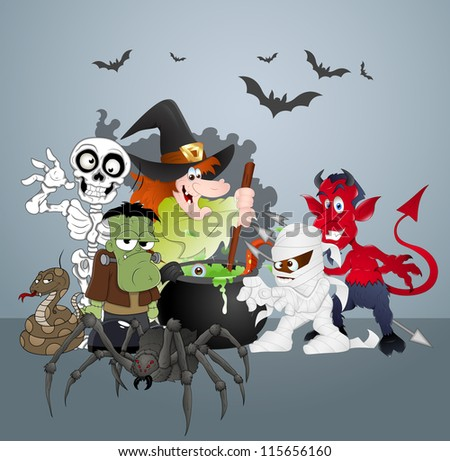 Halloween Monsters Party Celebration - stock vector