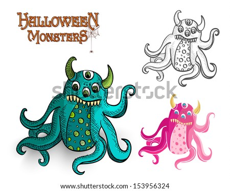 Halloween monsters spooky creatures set. EPS10 Vector file organized in layers for easy editing. - stock vector