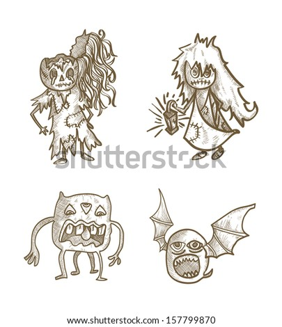 Halloween Monsters spooky hand drawn classic creatures set. EPS10 vector file organized in layers for easy editing. - stock vector