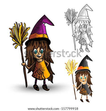 Halloween Monsters spooky hand drawn witches set. EPS10 vector file organized in layers for easy editing. - stock vector