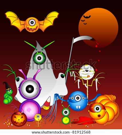 Halloween Monsters Trick-or-Treating. - stock vector