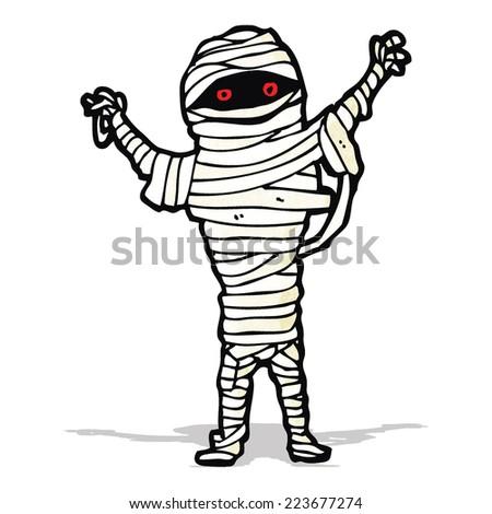halloween mummy cartoon - stock vector