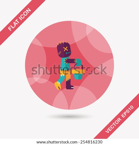 Halloween mummy flat icon with long shadow,eps10 - stock vector
