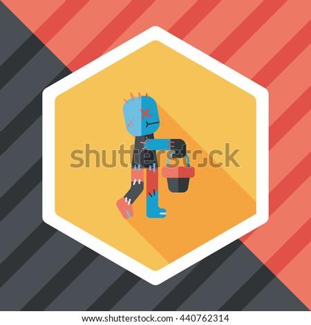 Halloween mummy flat icon with long shadow,eps10 - stock vector
