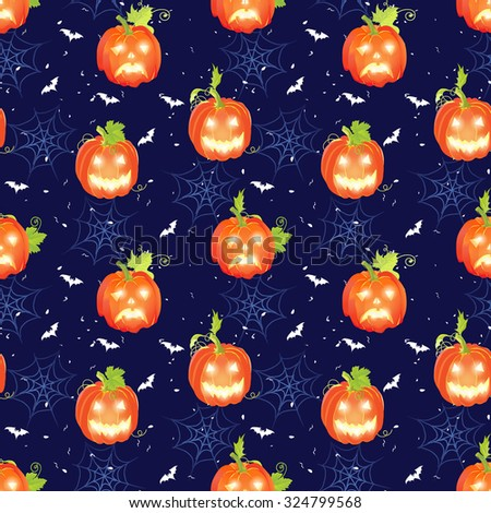 Halloween navy seamless vector pattern with pumpkins, bats and spider webs - stock vector
