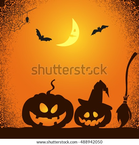 halloween night background in orange and black colors vector illustration of creepy pumpkins bats - Black And Orange Halloween