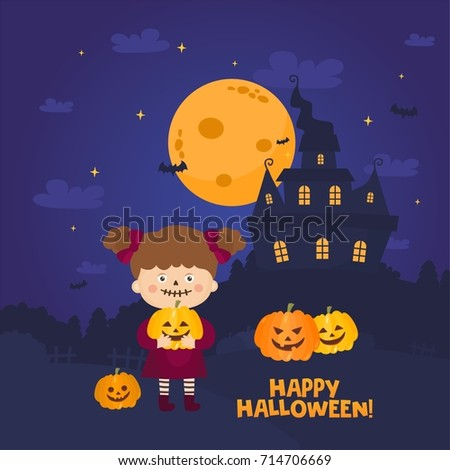 Halloween Night Background. Scary Illustration With Haunted House, Witch  Girl, Full Moon And
