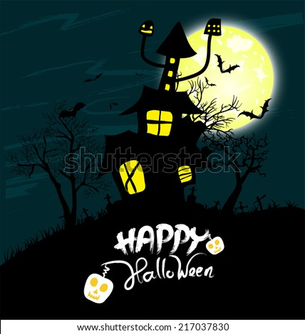 Halloween night background with castle and pumpkins - stock vector