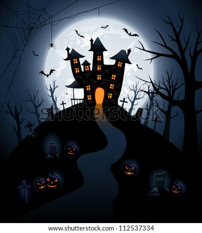 Halloween night background with castle and pumpkins, illustration - stock vector