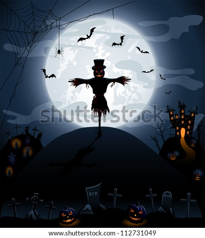 Halloween night background with castle and pumpkins, illustration