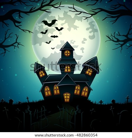 Halloween night background with castle in graveyard .Vector illustration