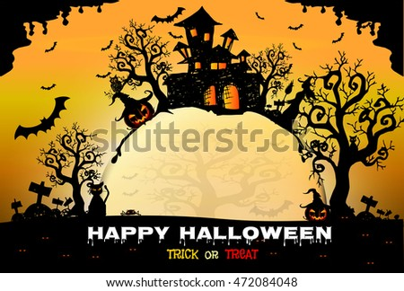Halloween night background with creepy castle and pumpkins, illustration, Halloween  background with full Moon