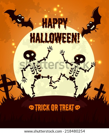 Halloween night background with full moon, cute dancing skeletons and bats. Halloween vector illustration for greeting card, poster, wallpaper or flyer design. - stock vector