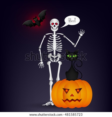 halloween night background with full moon cute dancing skeletons and bats halloween vector illustration - Dancing Halloween