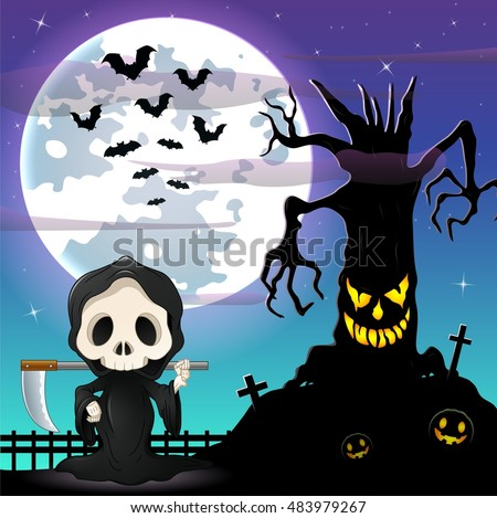 Halloween night background with Grim reaper and spooky tree in front the full moon.Vector illustration