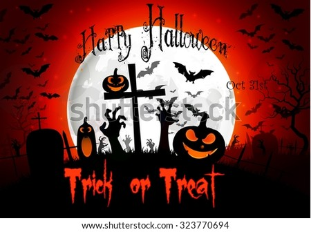 Halloween night background with hand, bats, pumpkin and full moon. vector