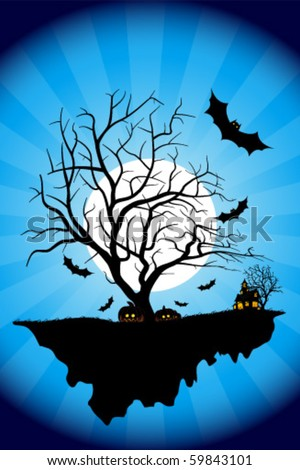 Halloween Night Background with Haunted House, Moon, Bats and Tree. Night Party Poster Backdrop. Vector Illustration.