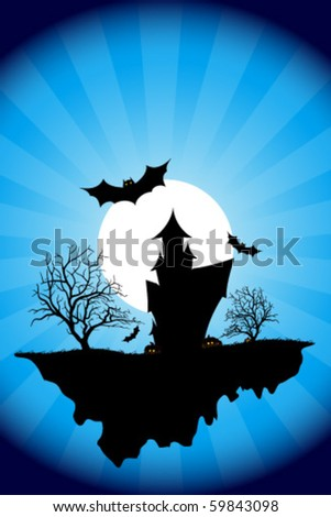 Halloween Night Background with Haunted House, Moon, Bats and Trees. Night Party Poster Backdrop. Vector Illustration.