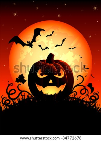 Halloween night background with Jack O' Lantern, illustration - stock vector