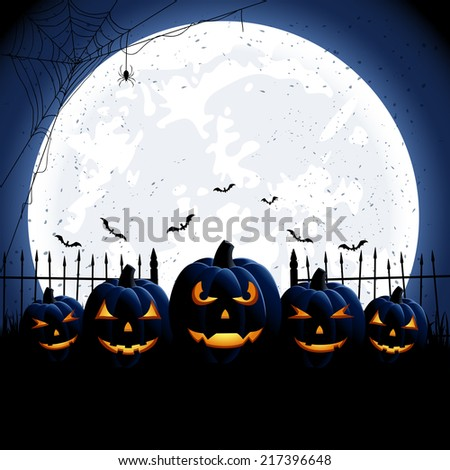 Halloween night background with Moon and Jack O' Lanterns, illustration. - stock vector