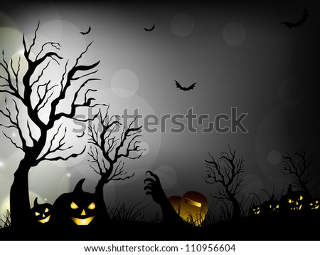 Halloween night background with scary pumpkins, bats and dead trees. EPS 10. - stock vector